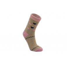 Knebl ponožky vlněné šedo růžové