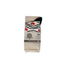 Knebl ponožky vlněné světlo černo červené