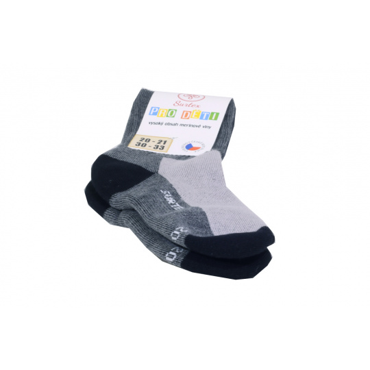 Surtex merino ponožky šedo černé